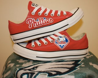 Custom Phillies Low-Top Converses (shoes run 1/2 size larger than most brands--order 1/2 size smaller)
