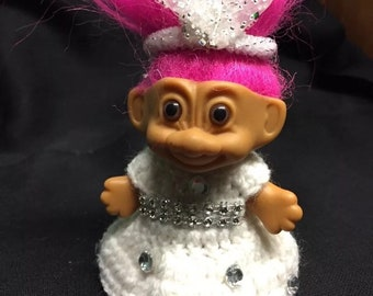 "Handmade troll wedding dress for 3"" troll doll not included"