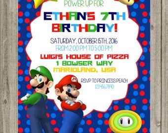 SALE Super MARIO and LUIGI Birthday Invitation Printable