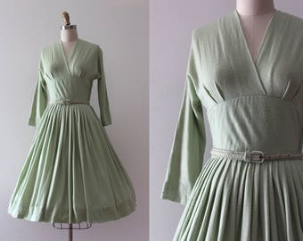 vintage 1950s Jonathan Logan dress // 50s green wool dress