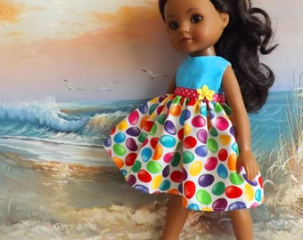 "14 to 14.5"" Doll Dress Bright Colors Jelly Bean Medley Handmade Will fit Wellie Wishers Only ONE"