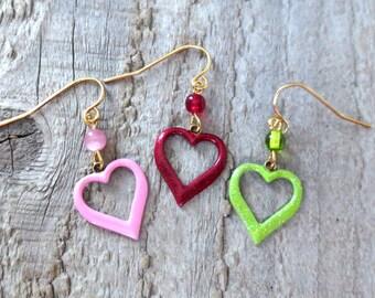 Hand Painted Open Heart Earrings, Heart Earrings, Vineyard Jewelry, Lightweight Brass Charms