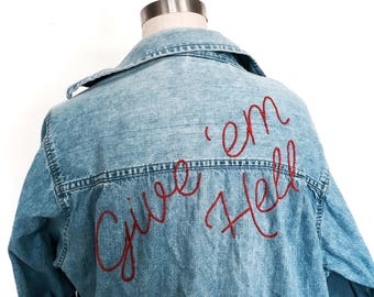 Embroidered Denim Shirt / Made to Order / Vintage / Oversized / Give Em Hell / 70s / 80s / Sustainable / Upcycled / Festival Fashion