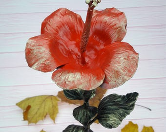 Metal hibiscus, 6th anniversary gift, iron gift, eternal flower, iron hibiscus, iron anniversary,  gift for her, anniversary gift, sculpture