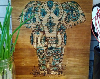 Handmade Wood Burnt Cutting Board Elephant