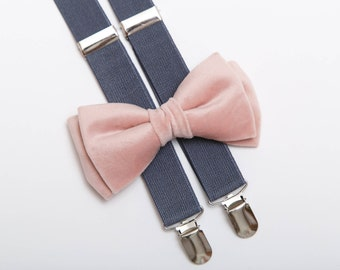 Velvet bow tie Gray suspenders Wedding bow tie Bow tie for man Dusty rose bow tie Pink bow tie Bowtie Braces Wedding outfit Bow tie for him