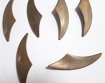 8 Vintage Curved Brass Blanks-Stampings