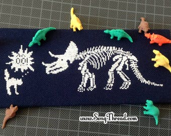 PATTERN Triceratops Dinosaur Dino Skeleton Fossil Cat Cute Counted Cross Stitch