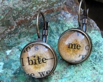 Word Earrings, Bite Me, Book Lover, Book Jewelry, Vampire Jewelry, Librarian, Bibliophile