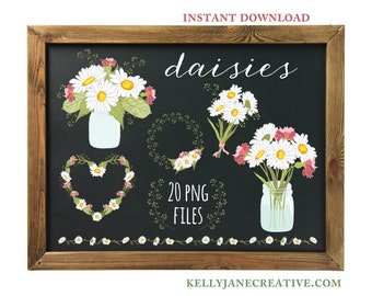 Daisies, Pink Flowers & Greens in Mason Jars - Hand Drawn  - Instant Download