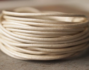 1.5mm Round Leather Cord Metallic Pearl : 15 Feet Genuine Leather Cord