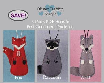 Felt Ornament PATTERN BUNDLE, Fox, Raccoon, Wolf, Woodland Animal, Sewing, Forest Friend, Nursery Decor, Package Topper, DIY Handmade Gift