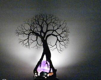 Wire Tree Of Life, Ancient Grove Spirit sculpture, Amethyst Quartz Crystal, gemstone accent lamp, home decor, crowsfeathers original art