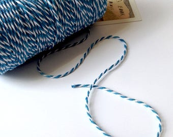 10m Blue & White Baker's Twine 1.5mm striped string / packaging 10m/90m/180m bulk
