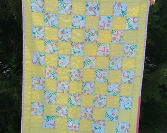 Baby Quilt - Yellow with Birds - Minky