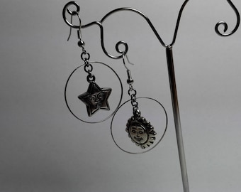 Earrings Star and Sun in a Ring