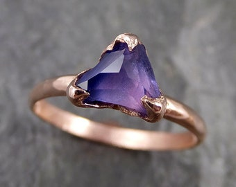 ultraviolet Sapphire Partially Faceted Raw Solitaire 14k Rose Gold Engagement Ring Wedding Ring Custom One Of a Kind Gemstone Ring 1175