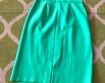 Vintage Bright Green 1960's Pencil Skirt -- Size M
