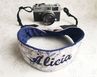 Personalized DSLR Minky Camera Strap, Padded with Lens Cap Pocket, Nikon, Canon, DSLR Photography, Photographer Gift - Wildflowers with Navy
