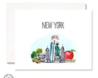 New York City Illustration Card - Handmade - Set of 10 - A2 Blank