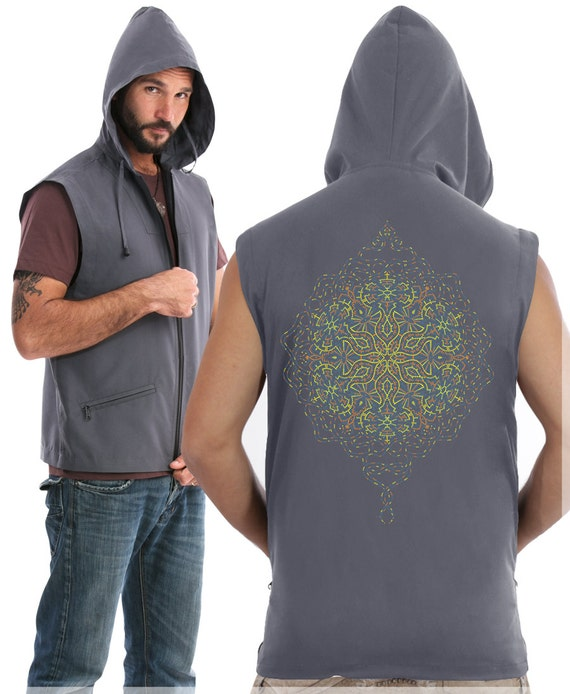Mens Vest With Hoodie, Psychedelic Hooded Vest Jacket, Hood Vest, Psy, Visionary Art, Burning Man Clothing, Festival Fashion