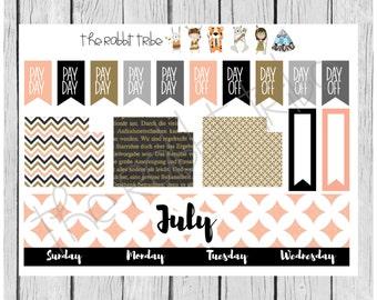 Freestyle-Planung - Juli monatlichen Kit - Planer Aufkleber