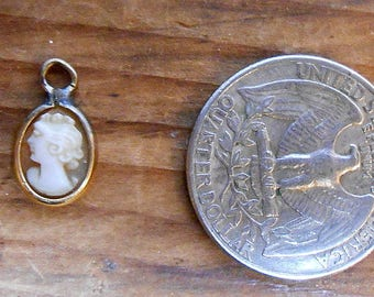 Antique Doll Cameo Pendant - Carved Shell - Used
