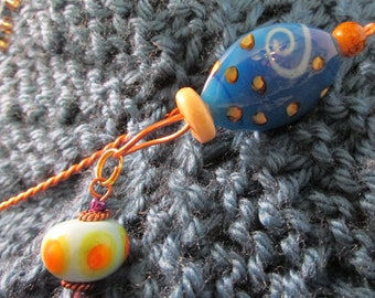 Shawl Pin With Blue and Yellow  Glass Beads