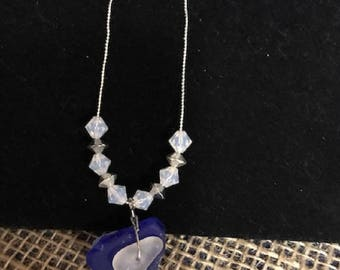 Hand Crafted Blue and White Sea Glass Necklace