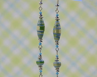Green Blue Double Dangle Bead Earrings #460