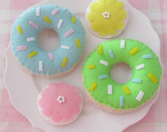 Pastel Double Tea Party Play Food Set with Blue and Green Donuts and Pink and Yellow Flower Cookies