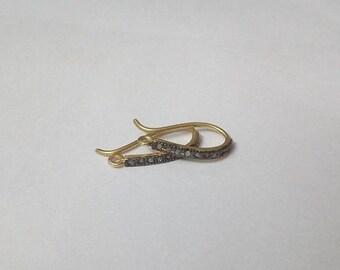 50% OFF 2 Pcs Pave Diamond Vermeil French Hook Earring - 925 Sterling Silver Vermeil French Hook Earring Size 22X12mm