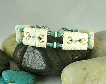 Carved Bone and Turquoise Bracelet - Aztec - Native American Cuff