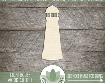 Wood Lighthouse Shape, Unfinished Wood Lighthouse Laser Cut Shape, DIY Craft Supply, Many Size Options, Blank Wood Shapes