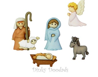 NATIVITY buttons by Dress It Up (Jesse James) to embellish cards, scrap books, pillows, home decor, nativity, Christmas