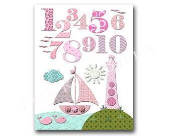 Nursery numbers poster pink numbers wall art nautical nursery art pink ocean nursery decor  baby girl room decor nursery wall decor