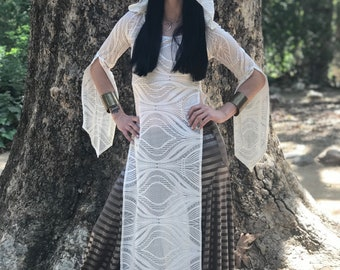 "NEW: The ""White Temple"" Tunic Dress with Hood by Opal Moon Designs (size S-XL)"