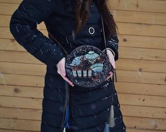 Leather bag, Hand painted leather purse, Bohemian leather bag, Indian style, Crossbody boho bag, Fringe bag, Leather boho bag, Women bag