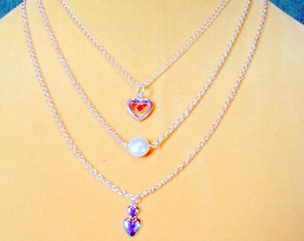 Layering Necklaces / Swarovski Crystal Pearl Necklace Multi strand necklaces / Sterling Silver heart layered