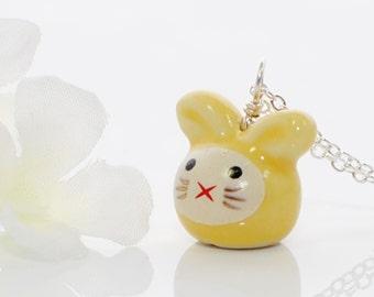 Yellow Kawaii Bunny Necklace Rose - Rabbit Jewelry - Bunny Rabbit Pendant - Kawaii Jewelry - Bunny Jewelry - Rabbit Necklace - Bunny Pendant