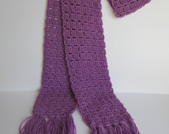 READY TO SHIP** Purple crochet winter scarf, winter scarf, scarf with tassels, purple scarf, crochet scarf, knit winter scarf, crochet gifts