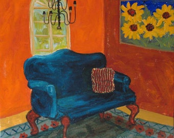 """SALE! Original painting """"The Blue Sofa"""" 20 x 20 inches acrylic on canvas"""