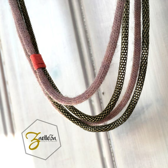 Long necklace to be rolled up old Rose / coral - model LUCCIOLA - Collection 2017/18 - Zaelleza - Cocooning Boho Bohemian
