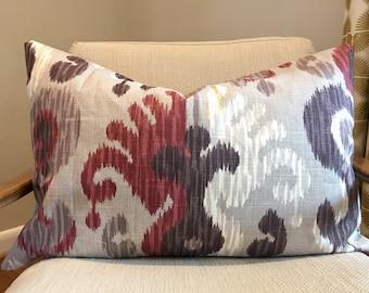 Grey, Plum, Berry and Cream Ikat Pillow Cover / Designer Journey Fabric / Handmade Home Decor Accent Pillow