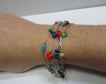 925 Silver Handmade Beaded Bracelet W #455