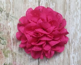 "4"" Hot Pink Eyelet Flower, large Hot Pink flower puff, Pink fabric flower, Eyelet flower, DIY supplies, Headband flower, Flower Hair Clip"