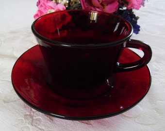 Ruby Red Glass Cup and Saucer Set