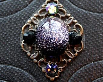 Night Sky Blue Goldstone Bindi - Facial Jewelry, Forehead Adornment, Steampunk, Tribal Fusion, Belly Dance, Third Eye, Swarovski Rhinestone