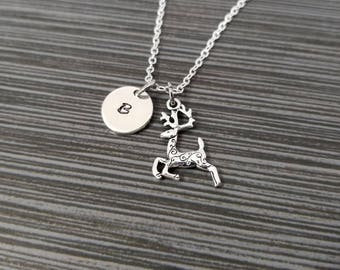 Antique Silver Reindeer Necklace - Reindeer Charm Necklace - Deer Necklace Personalized - Custom Gift Initial Necklace - Christmas Necklace