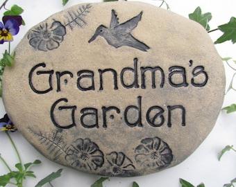 Grandma gift, Grandma's Garden sign, outdoor grandma stone. Hummingbird, flowers, inscription in charming antique text. Ceramic plant marker